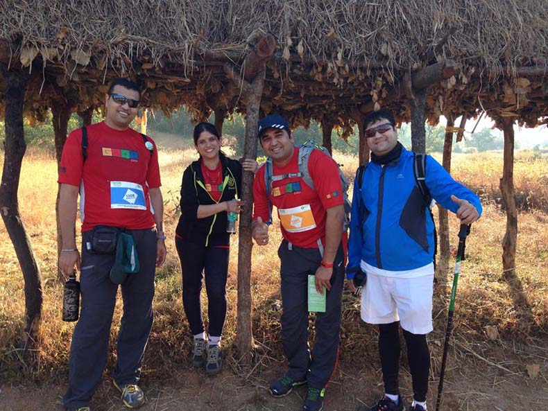 What a  feeling :  Manish in blue  relaxing with his 100 km oxfam trail walk team.