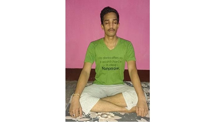 Relaxing: Hemant in a meditative mode