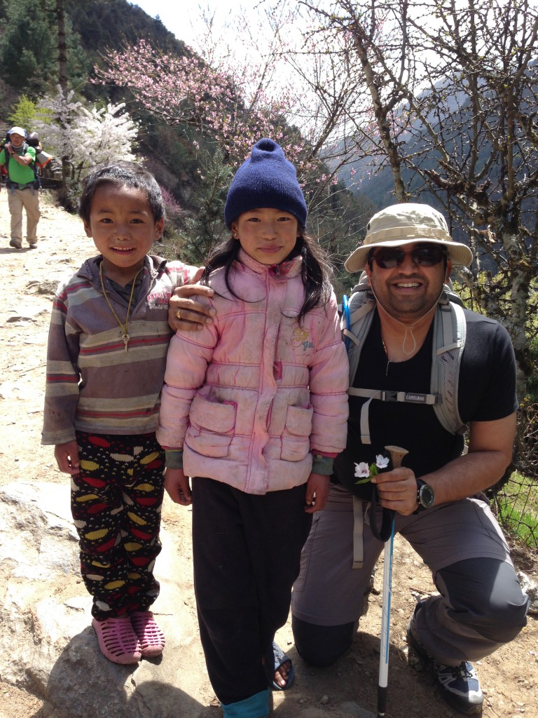 Dhawal with the local kids at Phakding-way back from EBC