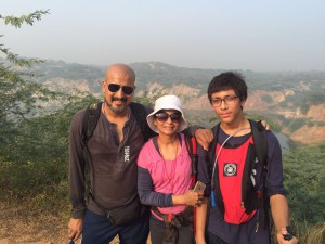 Rajnish, Reena and Rimuksh at the practice session for Oxfam trailwalker