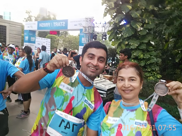 SWAROOP AND HIS MOM AT BKC run 10k