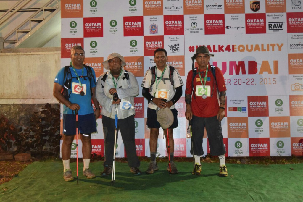 Anurag with his 3 schoolmates after completing the 100 km Oxfam Trailwalk in Nov 2015.
