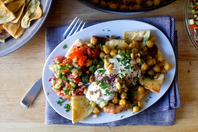 Chickpea and Spinach Salad With Cumin Dressing and Yogurt Sauce. Photo ...