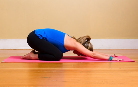 supported child pose yoga