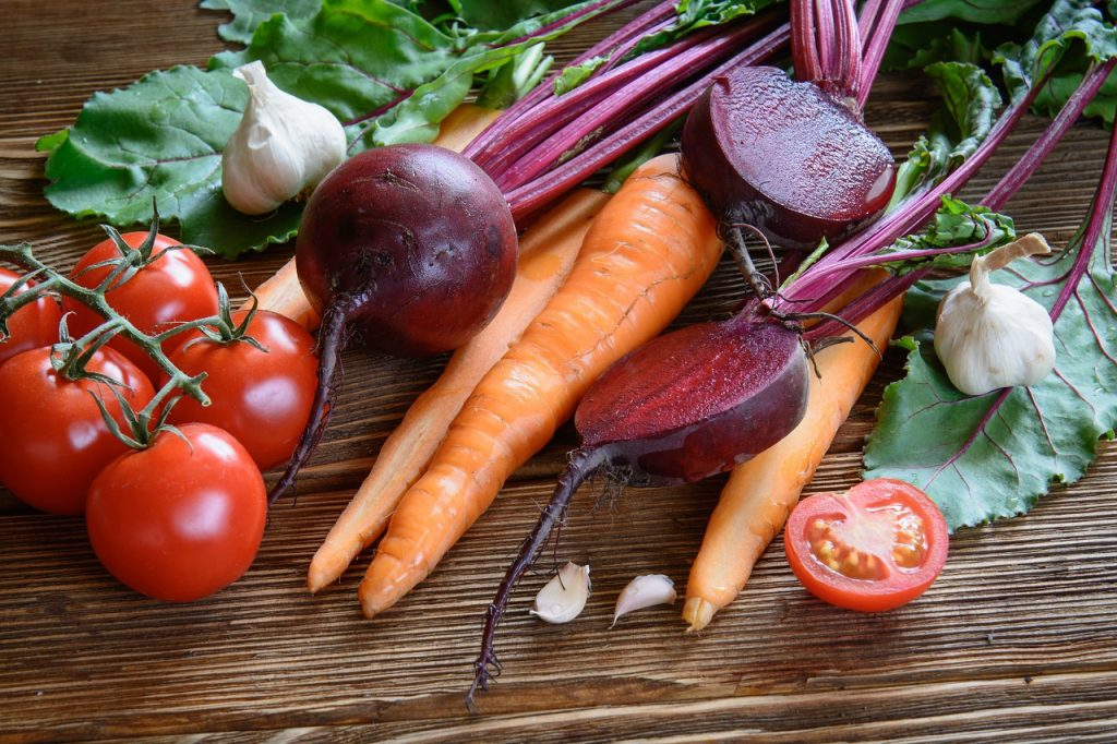 carrots, beetroots and tomatoes